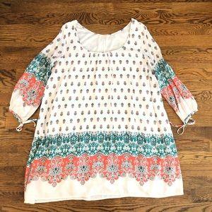 Easel Paisley Long Sleeve Dress